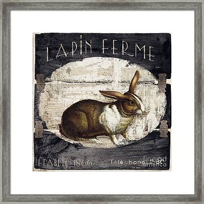 Campagne Iv Rabbit Farm Framed Print by Mindy Sommers