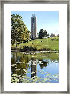 Campanile Reflection In Kansas Framed Print by Catherine Sherman