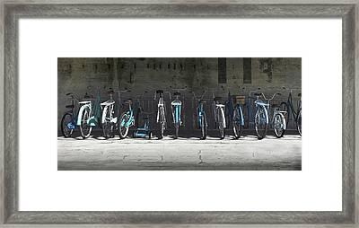 Campbell Blue Bike Rack Framed Print by Cynthia Decker