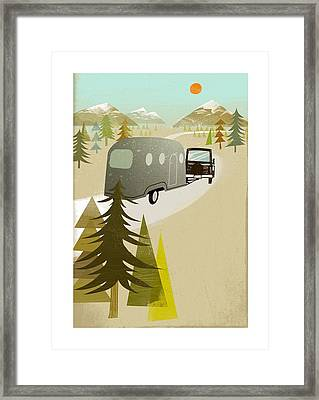 Camper Driving Into The Mountains Framed Print