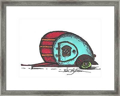 Camper, Red And Aqua Framed Print
