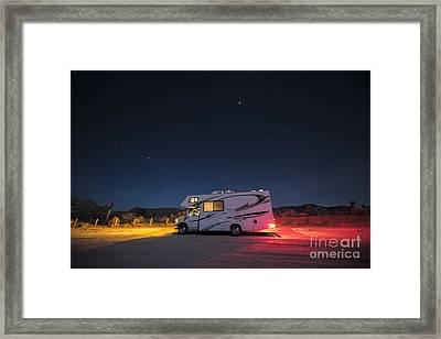 Camper Under A Night Sky Framed Print