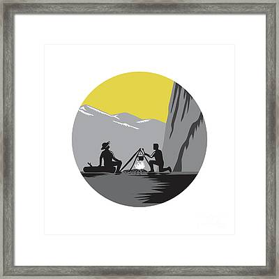 Campers Sitting Cooking Campfire Circle Woodcut Framed Print