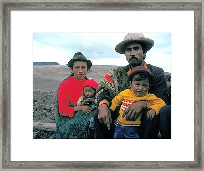 Campesino Family In Columbia Framed Print