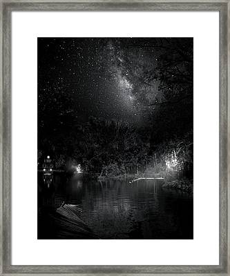 Framed Print featuring the photograph Campfires On Milky Way River by Mark Andrew Thomas