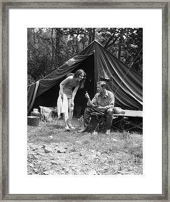 Camping Couple, C.1920s Framed Print