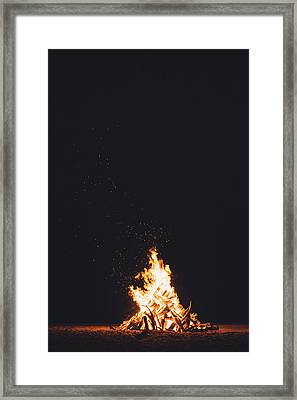 Camping Fire Framed Print by Happy Home Artistry