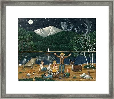Camping Folklore On The Shores Of Lake Winnipisaukee Framed Print by Joshua Ma Allistar