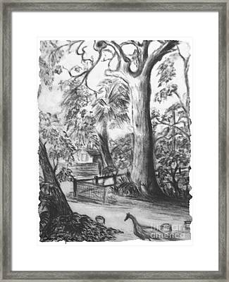 Framed Print featuring the drawing Camping Fun by Leanne Seymour