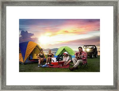 Camping Of Asian Man And Women Group Framed Print by Anek Suwannaphoom