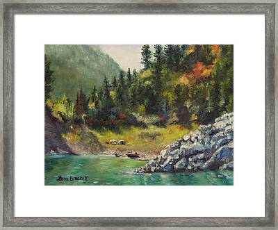 Camping On The Lake Shore Framed Print