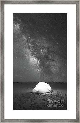Camping Under The Galaxy Bw Framed Print by Michael Ver Sprill