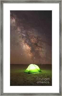 Camping Under The Galaxy  Framed Print by Michael Ver Sprill