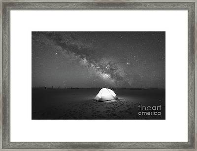Camping Under The Milky Way Galaxy Bw Framed Print by Michael Ver Sprill