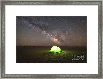 Camping Under The Milky Way Galaxy Framed Print by Michael Ver Sprill