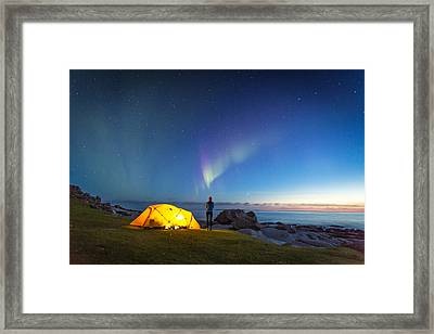 Camping Under The Northern Lights Framed Print by Alex Conu