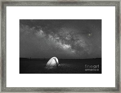 Camping Under The Stars Bw Framed Print by Michael Ver Sprill