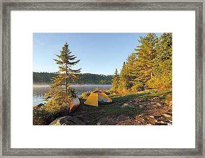 Campsite On Alder Lake Framed Print by Larry Ricker