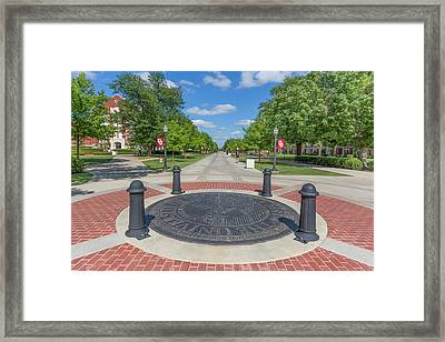 Campus Seal On The Campus Of The University Of Oklahoma Framed Print