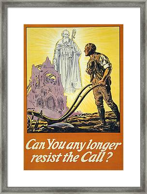 Can You Any Longer Resist The Call Framed Print by English School