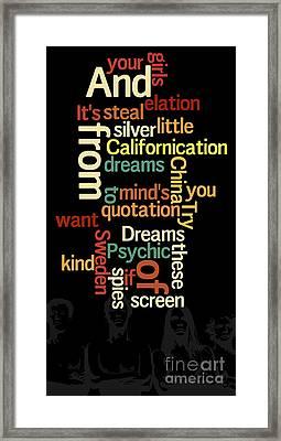 Can You Sort The Lyrics? Red Hot Chilli Lyrics. Game For Music Fans Framed Print