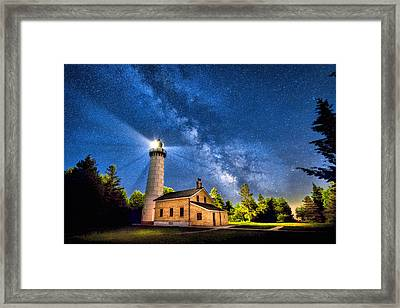 Cana Island Lighthouse Milky Way In Door County Wisconsin Framed Print by Christopher Arndt