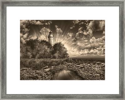 Cana Island Lighthouse Sepia Framed Print