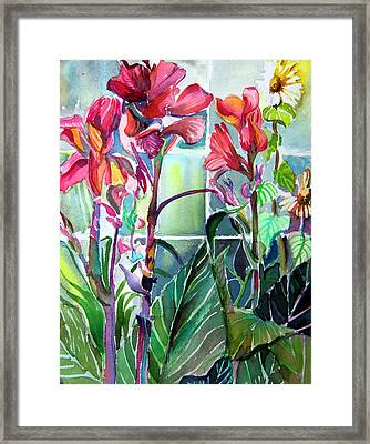 Cana Lily And Daisy Framed Print by Mindy Newman