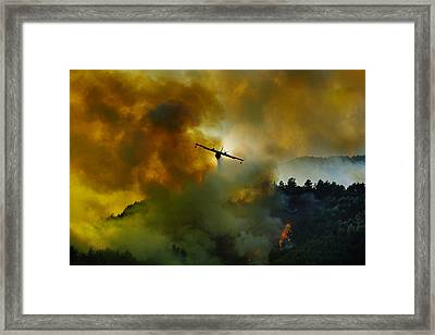Canadair Aircraft In Action - Fighting For The Salvation Of The Forest. Framed Print