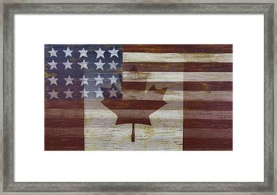 Canadian American Flag Framed Print