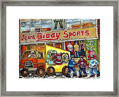 Canadian Art Street Hockey Painting Biggy Jeans Verdun Delivery Truck Winter Scene Carole Spandau    Framed Print by Carole Spandau