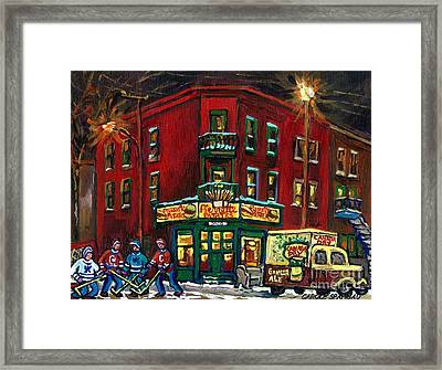 Canadian Art Verdun Montreal Paintings Night Hockey Pierrette Patates Canada Dry Truck Winter Scene  Framed Print by Carole Spandau