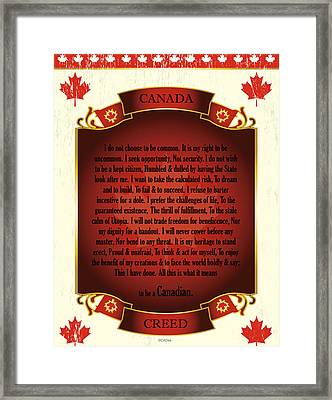 Canadian Creed On Scroll With Maple Leafs Framed Print
