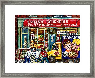 Canadian Hockey Art Winter Scene Painting Depanneur Richard Verdun Delivery Truck Carole Spandau     Framed Print by Carole Spandau