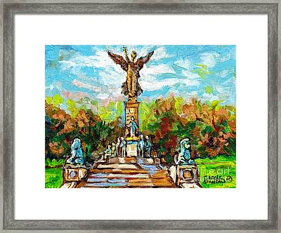 Canadian Landscapes Parc Jeanne Mance Mont Royal Autumn Scene Angel Statue Quebec Landmark C Spandau Framed Print