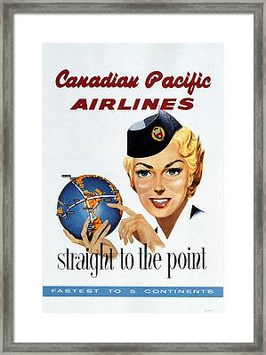 Canadian Pacific Airlines - Straight To The Point - Retro Travel Poster - Vintage Poster Framed Print