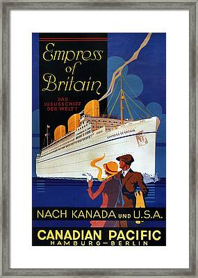 Canadian Pacific - Hamburg-berlin - Empress Of Britain - Retro Travel Poster - Vintage Poster Framed Print