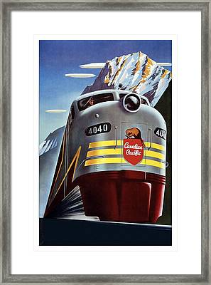 Canadian Pacific - Railroad Engine, Mountains - Retro Travel Poster - Vintage Poster Framed Print