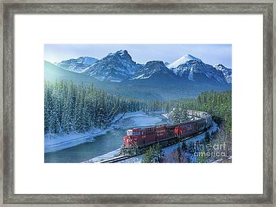 Canadian Pacific Railway Through The Rocky Mountains Framed Print by Rod Jellison