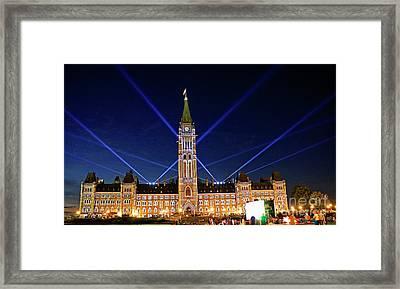 Canadian Parliament At Night Framed Print