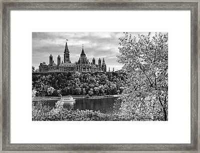 Canadian Parliament Hill Black White Framed Print by Charline Xia