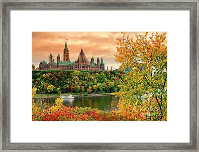 Canadian Parliament Hill In Autumn Framed Print