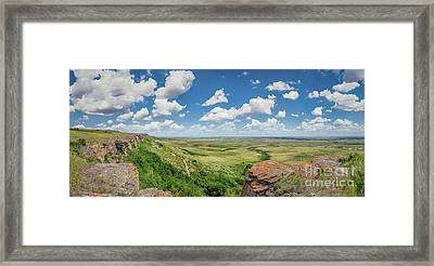 Canadian Prairie At Head-smashed-in Buffalo Jump Framed Print