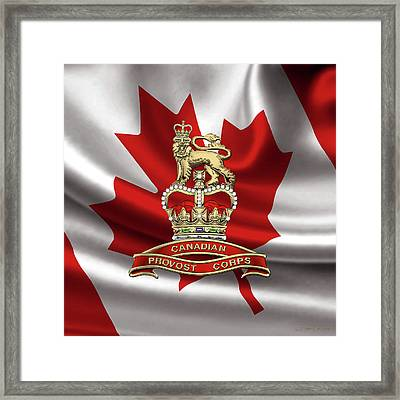 Canadian Provost Corps - C Pro C Badge Over Canadian Flag Framed Print by Serge Averbukh
