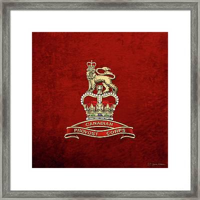 Canadian Provost Corps - C Pro C Badge Over Red Velvet Framed Print by Serge Averbukh