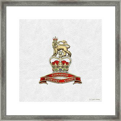 Canadian Provost Corps - C Pro C Badge Over White Leather Framed Print by Serge Averbukh