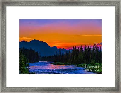 Canadian Rocky Sunset Framed Print by John Roberts