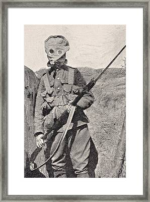 Canadian Soldier Wearing Gas Mask In Framed Print