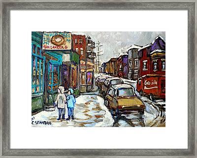 Canadian Winter Paintings Rue St Viateur Boulangerie Best Authentic Montreal Original Art Framed Print by Carole Spandau