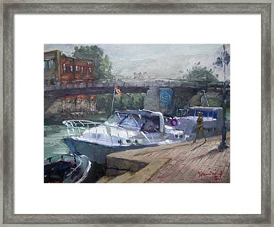 Canadian Yacht At Tonawanda Harbor Framed Print by Ylli Haruni